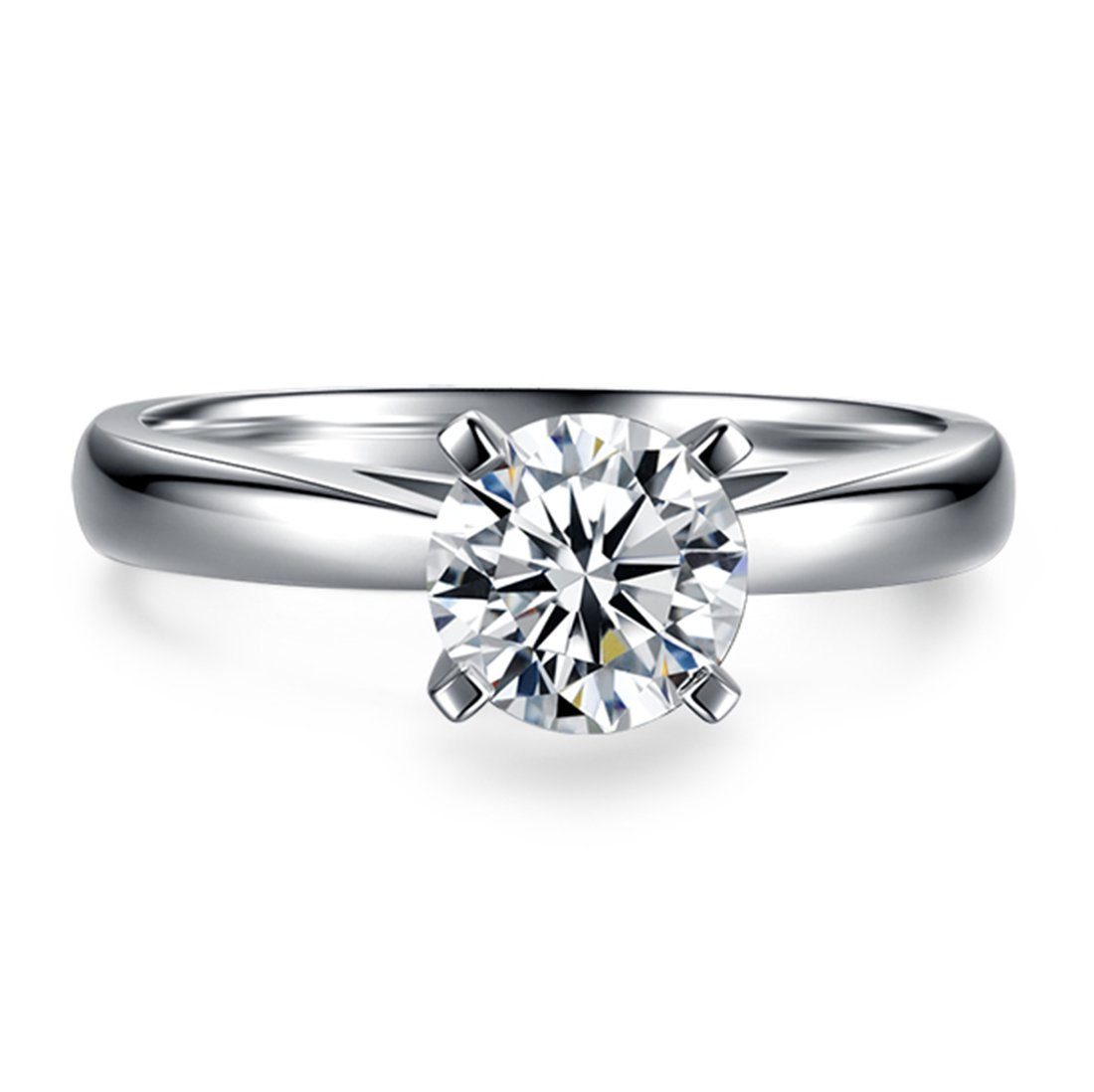 CARSINEL 1 Carat Round Brilliant CZ Sterling Silver 925 Wedding Engagement Ring Sizes 4 to 9 (9)