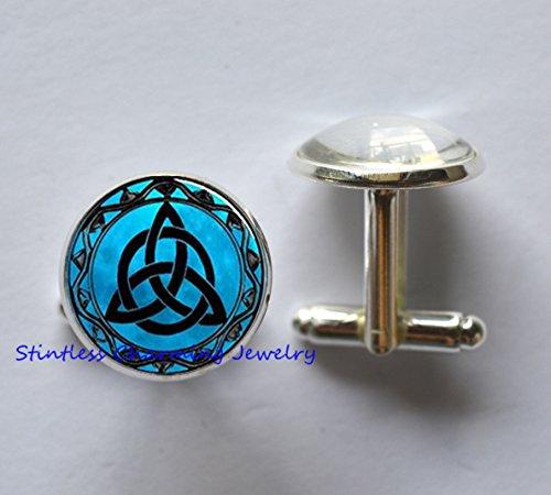 Celtic Designer Cufflinks (Blue Moon Cufflinks,Triquetra Cufflinks Triquetra Key Ring Triquetra jewelry,everyday jewellery,simple Cufflinks,fashion jewellery)
