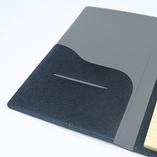 2 Pockets Slim Memo Padfolio F1 with AHZOA Pencil, Including Legal Writing Pad, Handmade 4.33 X 7.28 inch Folder Clipboard Writing Pad (Black) by AHZOA (Image #4)
