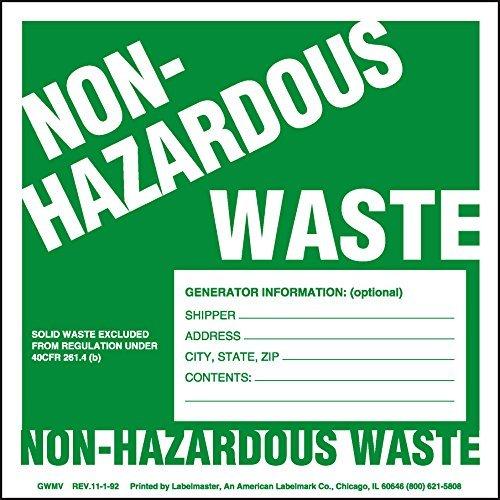 Labelmaster GWM7 Non-Hazardous Waste Label, W/Generator INFO (Pack of 100) - Shipping Hazardous Labels