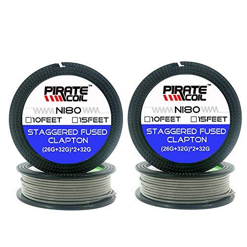 2 Packs Staggered Fused Clapton wire 10ft - (26GA+32GA) x2+32GA Resistance Wire NI80 SS316 Wires (NI80+NI80)
