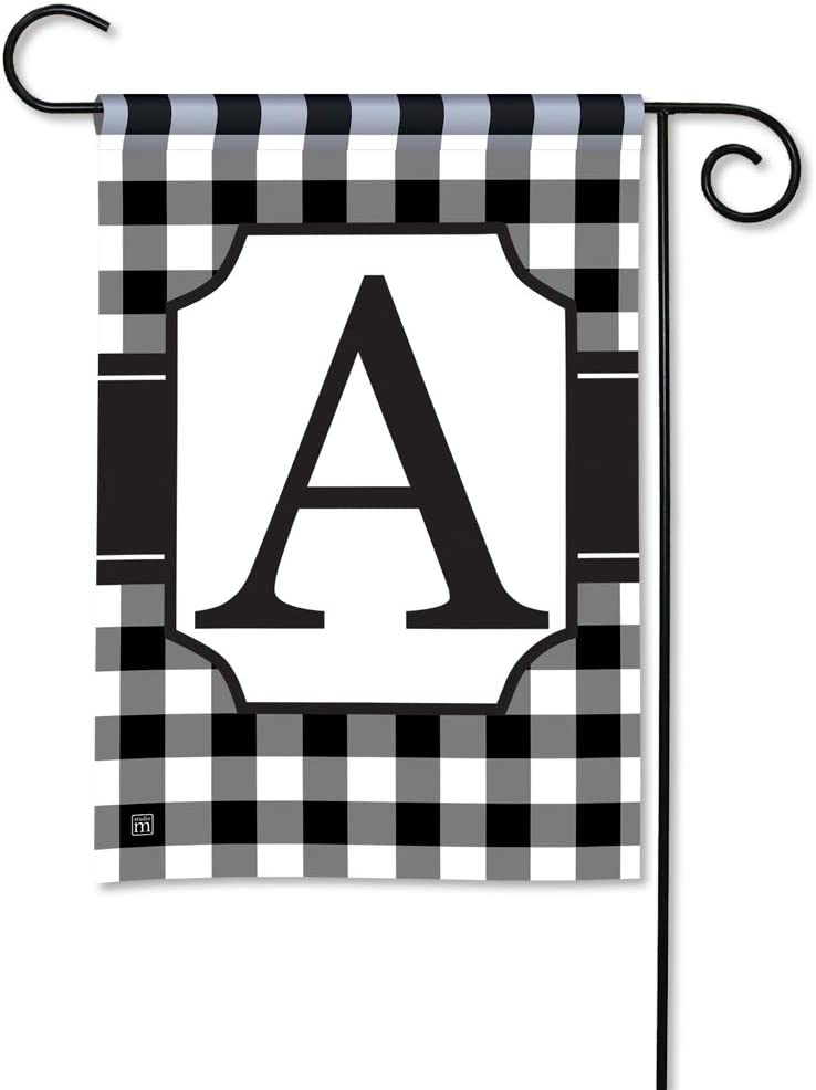 BreezeArt Studio M Black & White Check Monogram A Decorative Garden Flag – Premium Quality, 12.5 x 18 Inches