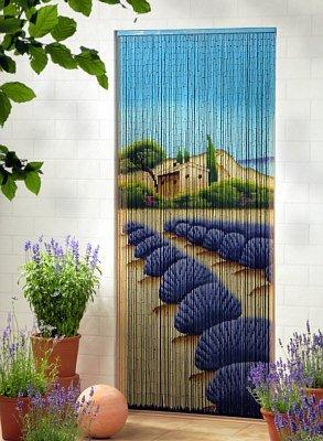 Bambusvorhang Türvorhang Dekovorhang Modell Lavendel 99 Stränge 90cm x 200cm mit Aufhängeleiste