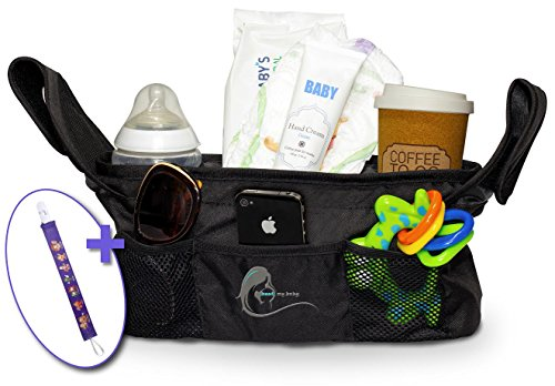 Stroller Organizer Bag , Extra Storage, Universal- Best Quality , Bag for Diapers & Accessories - Includes Pacifier Clip and eBook as Bonus Gifts - Best My Baby