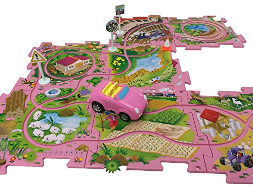 (Perfect Life Ideas Theme Vehicle Puzzle Track Play Set - Battery Operated Toy Themed Style Vehicle Runs on Interchangeable Puzzle Tracks - Make up to 50 Track Combinations (Pink Sports Car))