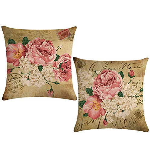 (ULOVE LOVE YOURSELF 2pack Retro Flower Throw Pillow Covers Peony Rose Home Decorative Pillow Covers Vintage Cushion Cases Square Pillowcase 18 inch(Pink&White Flowers))