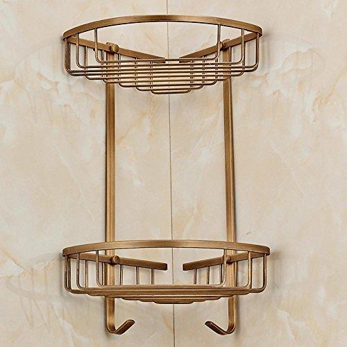 SSBY Antique copper racks, vintage belt hook brass basket, double corner shelf basket