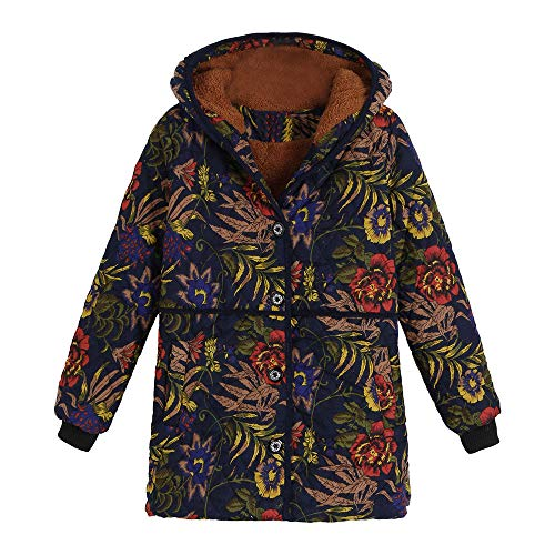 Womens Coat FEDULK Winter Warm Floral Print Outwear Vintage Parka Oversized Thick Hooded Jacket(Yellow, US Size 2XL = Tag 3XL) by FEDULK
