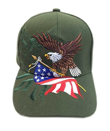 Center Stripe Cap - Aesthetinc Patriotic American Eagle and American Flag Baseball Cap USA 3D Embroidery (Olive)