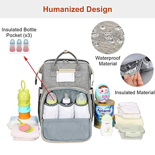 Diaper Bag Backpack Foldable Baby Bed, ZYEZI Portable Travel Bassinet for Babies, Baby Bed Bag, Waterproof Diaper Bag Backpack with Changing Bed, Travel Bed Backpack, Super-Large Capacity