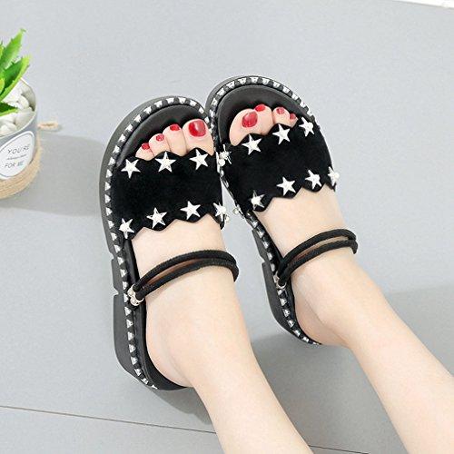 Double Strap Pearls Womens Slippers Black Walking Slip Wedge Sandals Ladies JULY Platform T Open Stars Toe on Fashion 6xOBwaq