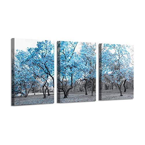 Flowers Tree Canvas Wall Art: Blue Landscape Picture Painting Print for Bed Room Wall Decor (16''x12''x3panel)