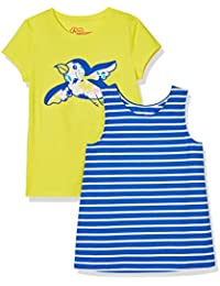 Girls 2-Pack Striped Tank and Embroidered Bird Tee Set