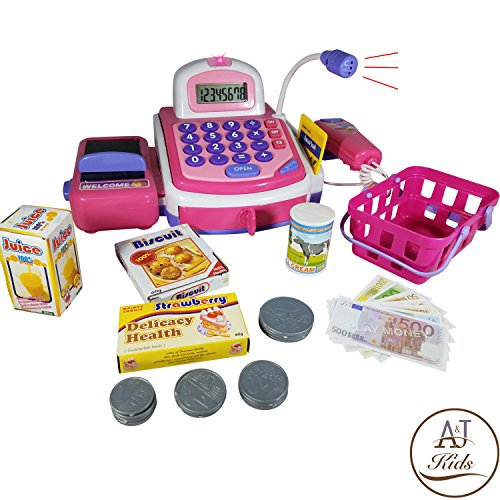 ANJ Kids Toys - Durable Pretend Play Cash Register Toy for Kids | POS Scanner, Microphone, Calculator, Card Terminal and Conveyor Belt | Supermarket Cashier Toy with Play Money and Groceries! (Cash Calculator Play Register)