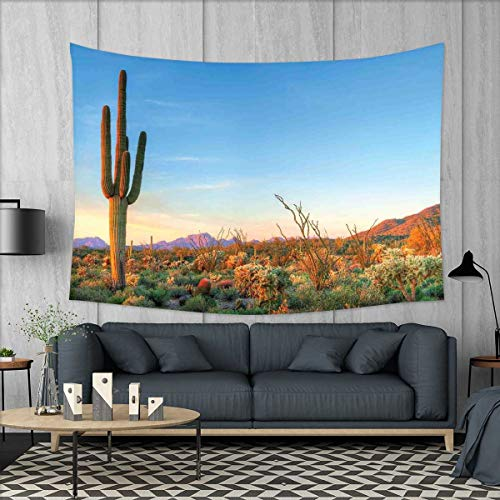 smallbeefly Saguaro Customed Widened Tapestry Sun Goes Down