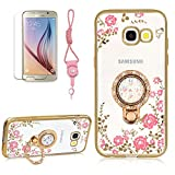Pink Flower Butterfly Series Plating Case For Samsung Galaxy A5 2017, Girlyard Shining Crystal Rhinestones Diamond Case Clear Flexible GEL Silicone Golden Rubber Protective Phone Case Design Flower Background Transparent Cover with Bling 360 Degree Rotating Circle Stand Ring For Samsung Galaxy A520