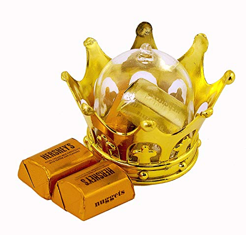 (JC HUMMINGBIRD 24PC Gold Crown Fillable for Small Candy Chocolate, Table Decorations, Party)