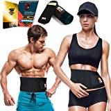 electronic belly fat burner - Only1MILLION Waist Trimmer Belt and Smartphone Neoprene Sleeve – Waist Sauna for Accelerated Weight Loss and Toxin Clearance – Workout Tummy Belt Acting Like a Portable Sauna (Black, Size M)