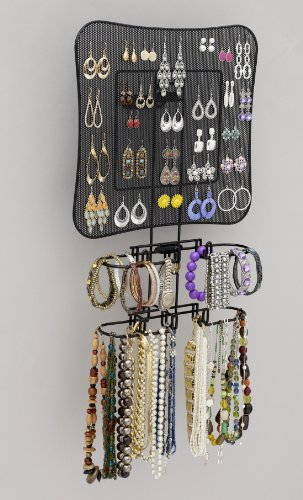 Longstem: 2200 Wall-mounted Organizing Jewelry & Accessory Storage Valet in Black powdercoat. For Hanging Earrings, Bracelets, Necklaces, & Hair Accessories. Longstem is the mark of quality!