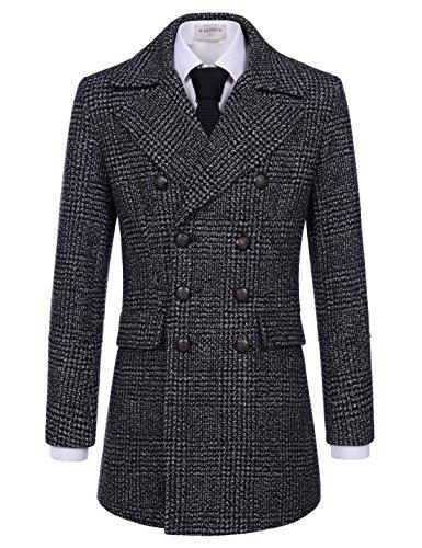 Wool Jacket Blend Ivory (NEARKIN (NKNKDC7072) Mens Notch Lapel Checker Double Breasted Wool Blend PEA Coat GRAYBLACK US XXL(Tag size 2XL))