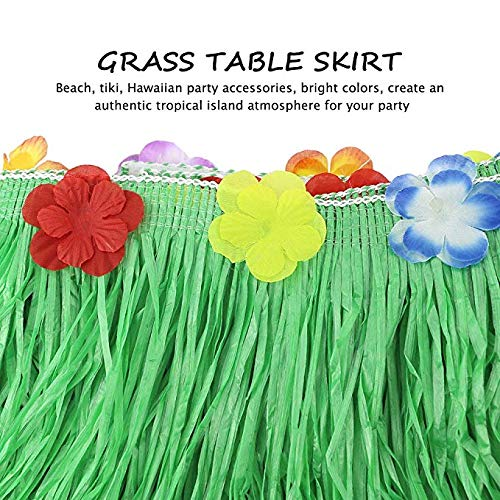 Hawaiian Luau Party Supplies-1 Pack Grass Table Skirt 9ft,20 Pcs Tropical Faux Palm Leaves5Pcs Adhesive Hook & Loop for Hula, Luau, Maui, Hawaiian, Moana Themed Party(26pcs) by COCOScent (Image #4)'