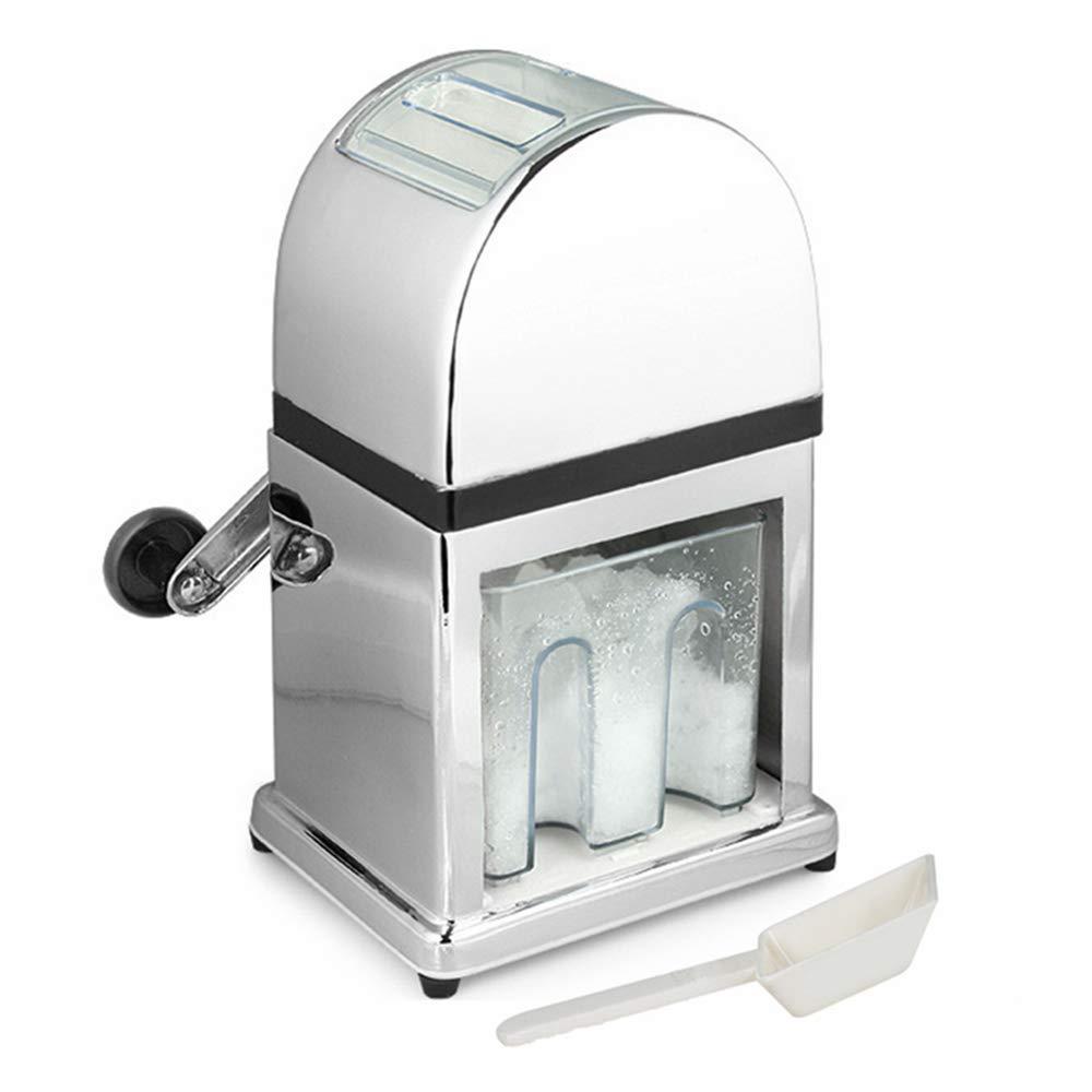 Ice Crusher Machine Manual Stylish Mirrored Finish with Scoop and Ice Tray - 900ml Capacity