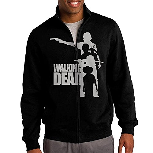 Simoon Walking Dead Men's Solid Stand Collar Zipper Jacket Size S (Mens Sale Uggs On Slippers)