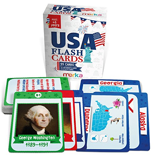 Kids USA Presidents and States Flash Cards - 95 cards with beautiful images for each State Bird, Flower, Flag, Tree and more - Educational Civics for - Usa For Kids