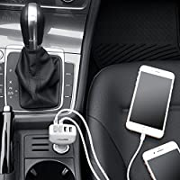 AmazonBasics 4-Port Multi USB Car Charger for Apple and Android Devices, 9.6 Amp 48W, Black and Red