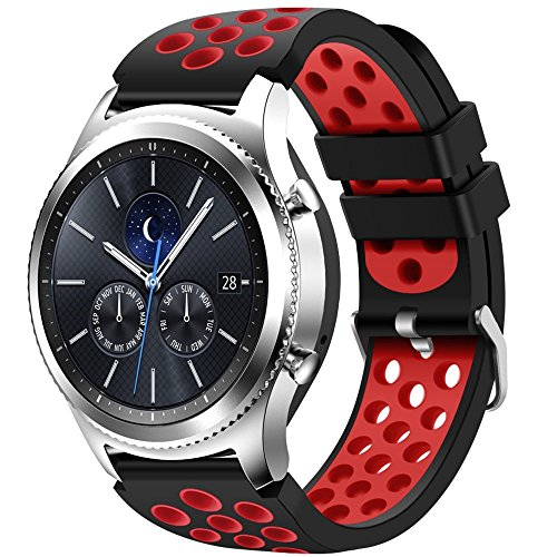 For Samsung Gear S3 Frontier and Classic Watch,CreateGreat Soft Replacement Breathable Sport Bands with Air Holes for Samsung Gear S3 Smart Watch Band(Black Red)