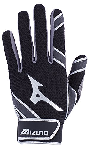 Mizuno MVP Youth Kid's Baseball Batting Gloves, Small, Black