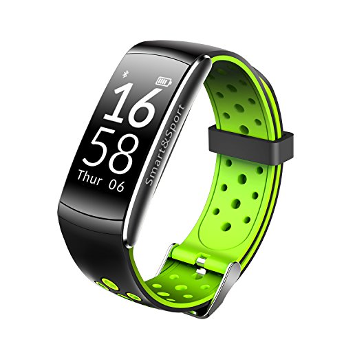 Heart Rate Fitness Tracker Wristband,LNGOOR Bluetooth Watch Activity Tracker IP68 Waterproof Sleep Monitor Calorie and Step Pedometer for Android & IOS - Green