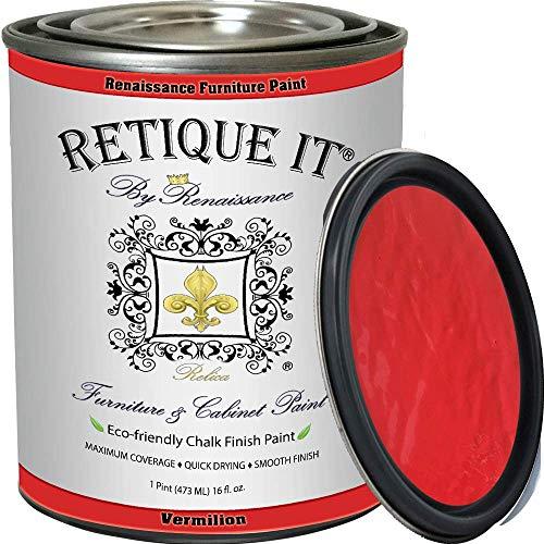 Retique It Chalk Furniture Paint by Renaissance DIY, 16 oz (Pint), 57 Vermilion