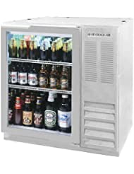 Beverage-Air BB36GF-1-S 36 One Glass Door Food Rated Back Bar Refrigerator 8.8 cu. ft. Capacity Stainless Steel Exterior and Side Mounted