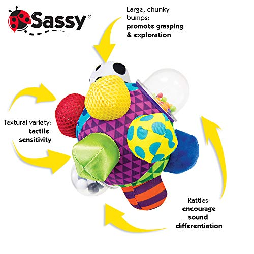 Sassy Developmental Bumpy Ball   Easy to Grasp Bumps Help Develop Motor Skills   for Ages 6 Months and Up