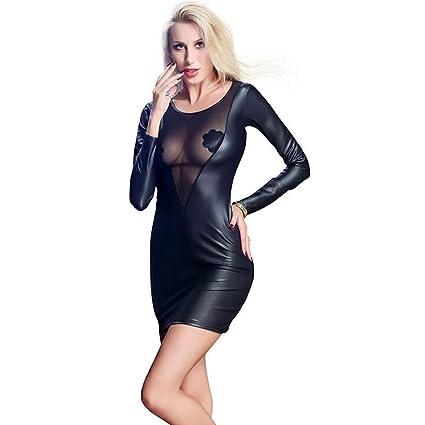 SHANGLY Mujer Sexy Látex Vestido Lencería Cuero De Imitación Bodycon Fiesta Sin Respaldo Vestidos,XXL