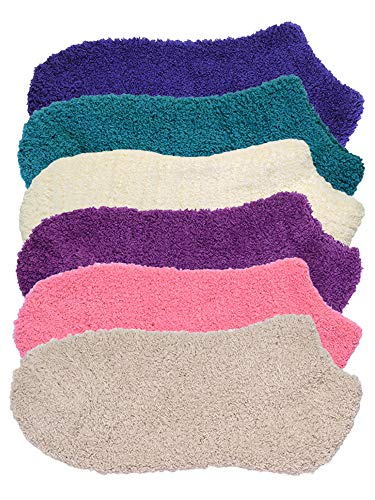 Colorful 6 Pack Womens Cozy Slipper Fuzzy Ankle Socks
