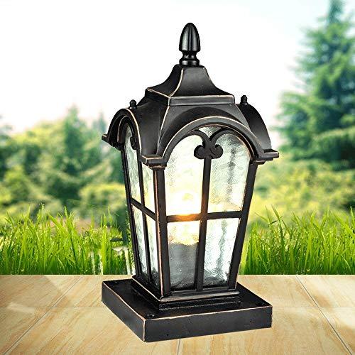 Wapipey European Modern Glass Metal Column Headlight Outdoor Table Lamp Column Light Antique Aluminum Waterproof Street Post Light E27 Decorative Garden Light Lawn Lamp Illumination Light Fixture ()