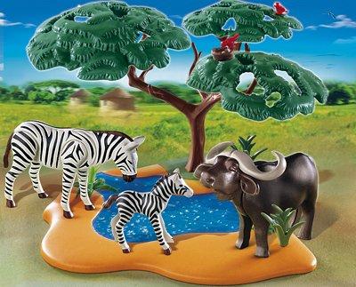 Dschungel Abenteuer Playmobil 4828 Safari Zebra und Kaffern Büffel an Wasserstelle