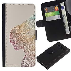 Billetera de Cuero Caso Titular de la tarjeta Carcasa Funda para Samsung Galaxy S3 III I9300 / Abstract Woman Teal Yellow Art / STRONG