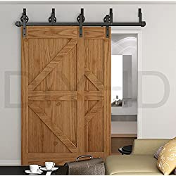 DIYHD 8ft Industrial Spoke Wheel Bypass Barn Door Track Stablest Bypass Sliding Door Hardware