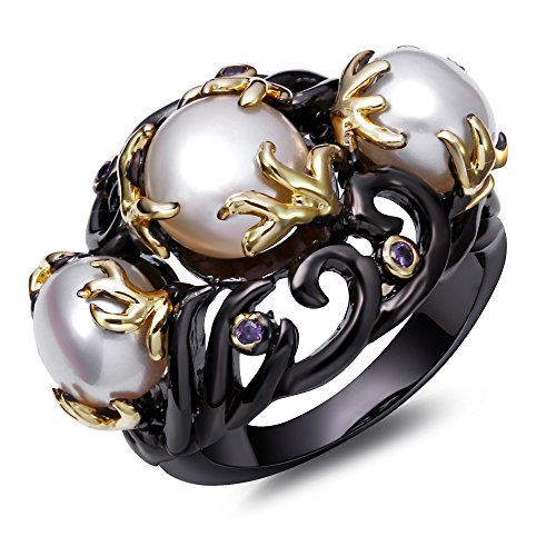hwater pearl ring 2 tone plate by black gold and gold pave setting with aaa amethyst cubic zirconia stone 7.0 (2 Tone Amethyst Ring)