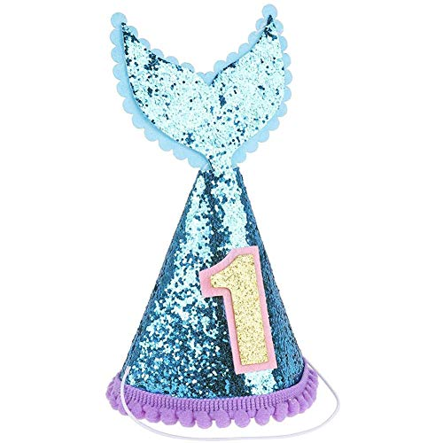 ZILucky Infant Baby Boys Girls' 1st Birthday Party Sparkly Mermaid Tail Cone Hats Princess Cake Smash Pictures Decoration (Blue & - Boy Cone 1st Birthday Hat