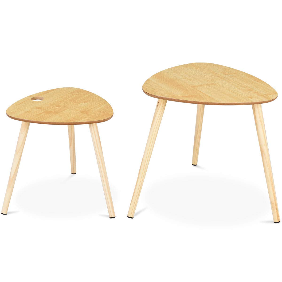 Giantex 2 Pcs Nesting Coffee Tables End Table Accent Sofa Side Table Home Living Room Office Modern Décor Coffee Table w/Wooden Leg by Giantex