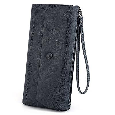 UTO Women Wristlet Wallet Large Capacity Luxury Wax/Matte PU Leather Card Slot Zipper Phone Holder Purse