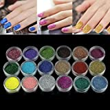 WILLTOO 18 Colors Nail Art Glitter Powder For UV GEL Acrylic Powder Decoration Tips