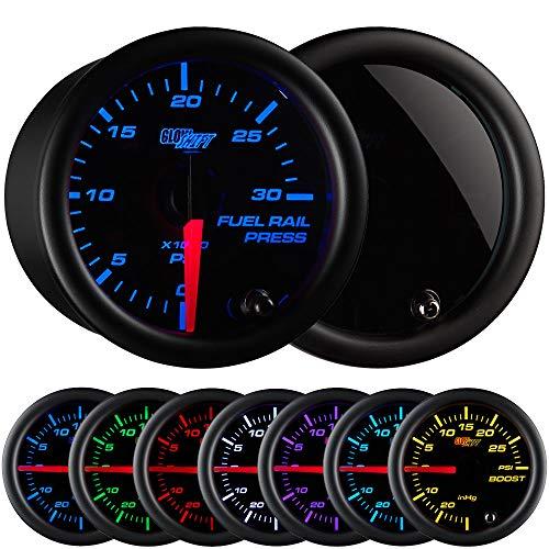 GlowShift Tinted 7 Color 30,000 PSI Fuel Rail Pressure Gauge - For 2002-2017 6.6L Chevy Duramax & 2003-2017 5.9L / 6.7L Dodge Cummins Diesel Trucks - Black Dial - Smoked Lens - 2-1/16 52mm