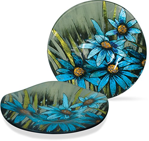 (Angel Star Decorative Glass Plate with Wire Display Stand (1, Azure Daisy, 7