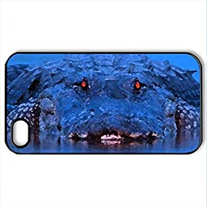 Alligator Red Eye - Case Cover for iPhone 4 and 4s (Reptiles Series, Watercolor style, Black)