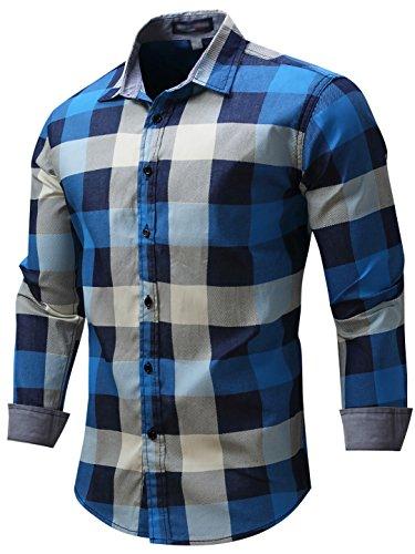 Check Plaid Sport Shirt - Neleus Men's Long Sleeve Button Down Plaid Denim Work Shirt Shirts,088,Blue,M,EU L